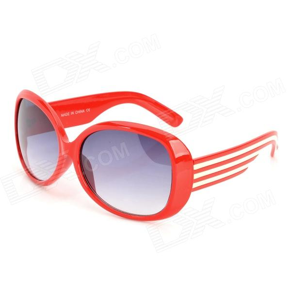 Women's Fashionable Plastic Frame Resin Lens UV400 Protection Sunglasses - Red + White clip on uv400 protection resin lens attachment sunglasses small