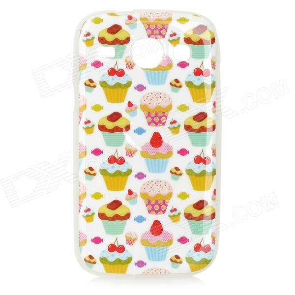 Cup Cakes Pattern Protective TPU Back Case for Samsung Galaxy Core i8262 - White + Multicolored
