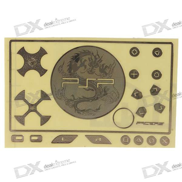 Metal Game Console Sticker Set for PSP 3000 (Dragon/Golden)
