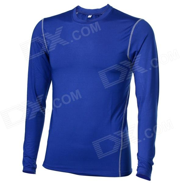 WJH Men's Outdoor Sports Tight Long-sleeved Dacron + Spandex Shirt - Blue (L)