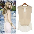 MEIFEIER-407 Women's Fashionable Knitted Chiffon Blouse - Apricot (L)