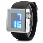 "Shifenmei 295 Rubber Band 1.3"" LCD Digital LED Blue Light Wristwatch - Silvery Black (1 x CR2032)"