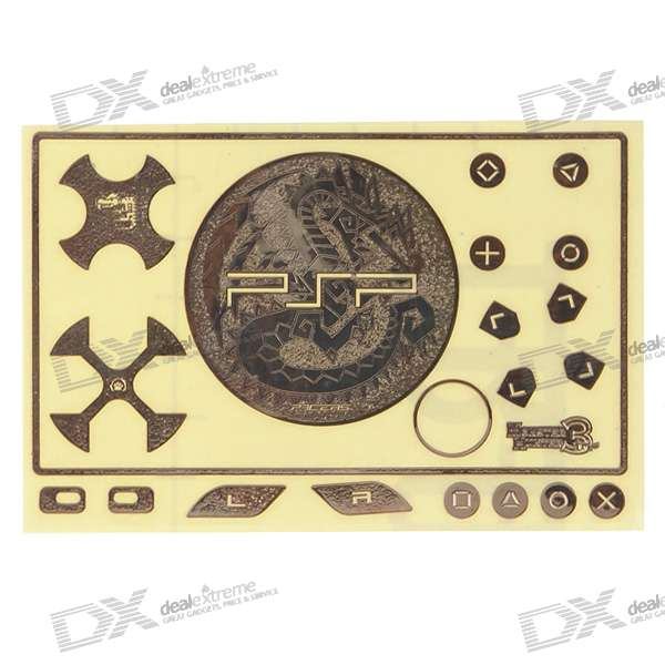 Metal Game Console Sticker Set for PSP 3000 (Monster Hunter/Golden)