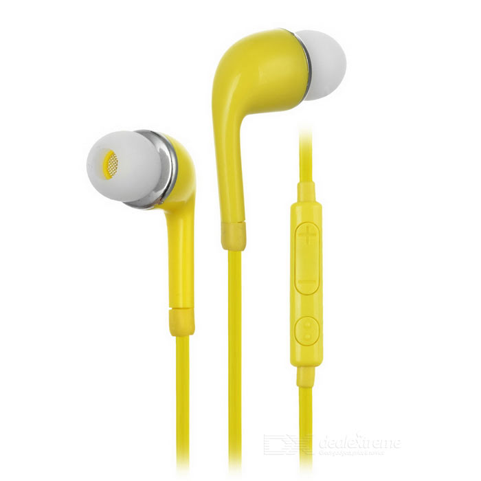J5 3.5mm Jack In-Ear Earphone w/ Mic. for Samsung Galaxy S5 - Yellow (120cm)