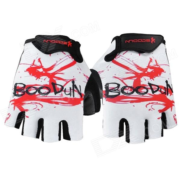BOODUN 201200518 Patterned Half-Finger Dacron + Nylon Cycling Gloves - White + Black (XL / Pair) spakct cool006 knuckle riding cycling gloves black white red xl 21cm
