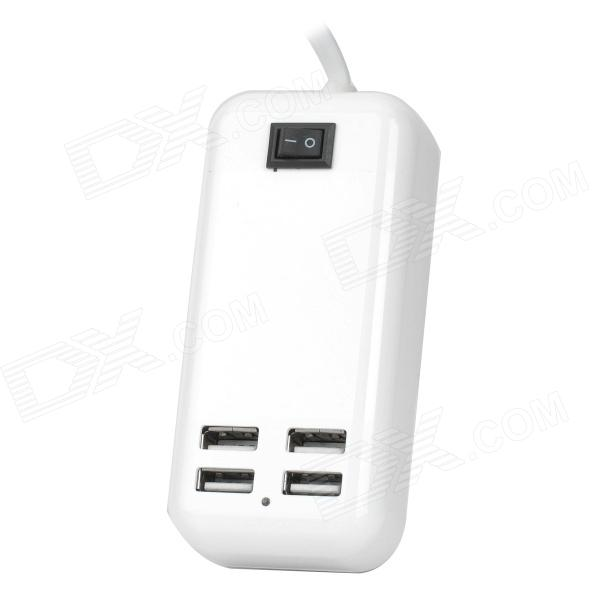 LP-60L universella 4-port USB 2.0 Power Adapter w / Switch-Vit + Svart (UK Plug / 100 ~ 240V)