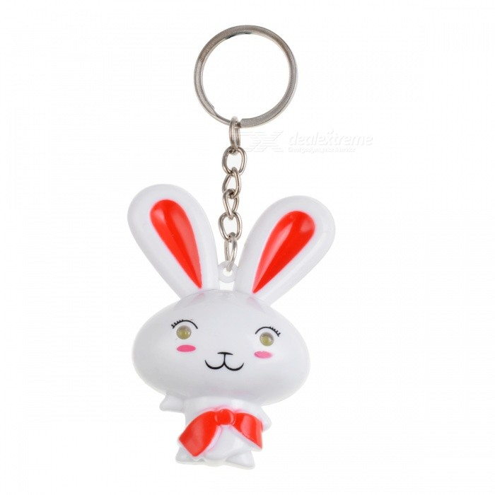 Lovely Rabbit Style Key Chain w/ White LED Light - White + Red (3 x AG10) cute hippo style plastic key chain w led white light green 3 x ag10