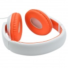 Sound Intone HD-680 Extra Bass Wired Headphone w/ Microphone for IPHONE - White +Orange (3.5mm Plug)