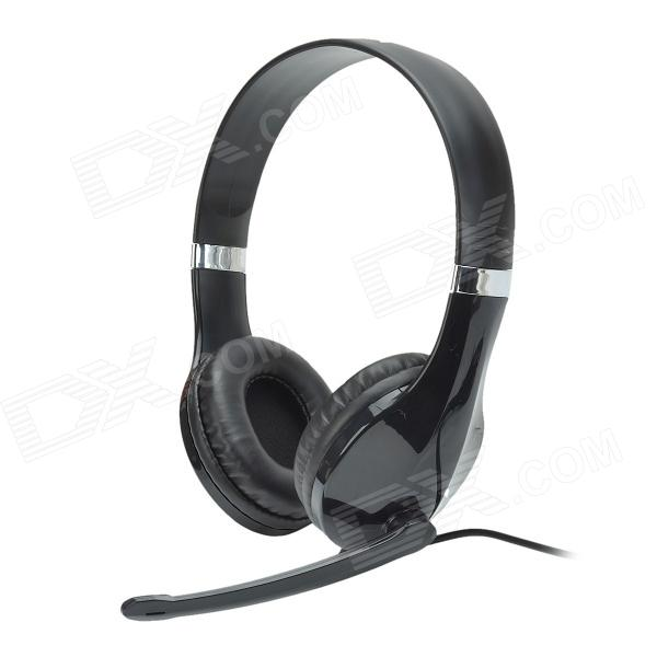 Kanen KM-1080 Fashionable 40mm Driver Stereo Headphones w/ Rotary Microphone - Black (3.5mm Plug) kanen i20 black