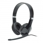 Kanen KM-1080 Fashionable 40mm Driver Stereo Headphones w/ Rotary Microphone - Black (3.5mm Plug)