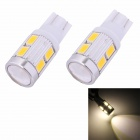 MZ T10 5W 350lm 10-SMD 5630 LED Warm White Light Car Clearance Lamp/Signal Light Lens (DC 12V/2 PCS)