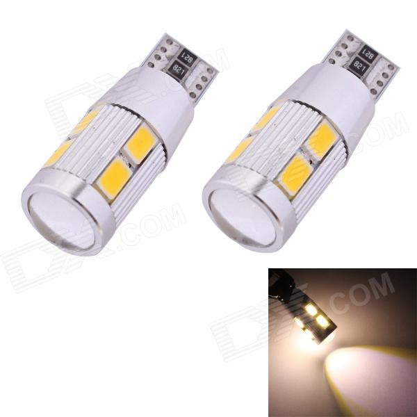 MZ T10 5W 350lm 10-SMD 5630 LED Error Free Canbus Warm White Light Car Clearance Lamp (DC12V/2 PCS) merdia t10 5w 126lm 9 x smd 5050 led error free canbus red light car clearance lamp 12v 2pcs