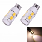 MZ T10 5W 350lm 10-SMD 5630 LED Error Free Canbus Warm White Light Car Clearance Lamp (DC12V/2 PCS)