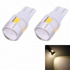 MZ T10 3W 144lm 3500K 6-SMD 5630 LED Warm White Car Signal Light w/ Lens - White (DC 12V / 2 PCS)