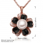 Women's Stylish Flower Gold Plated Synthetic Pearl Necklace - Rose Gold + Black