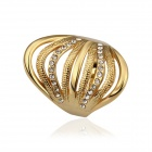 Fashion Elegant Rhinestone Gold Plated Finger Ring - Golden (US Size 8)