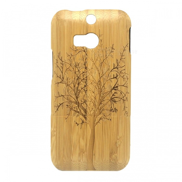 Big Tree Pattern Detachable Protective Bamboo Back Case for HTC ONE M8 - Yellow