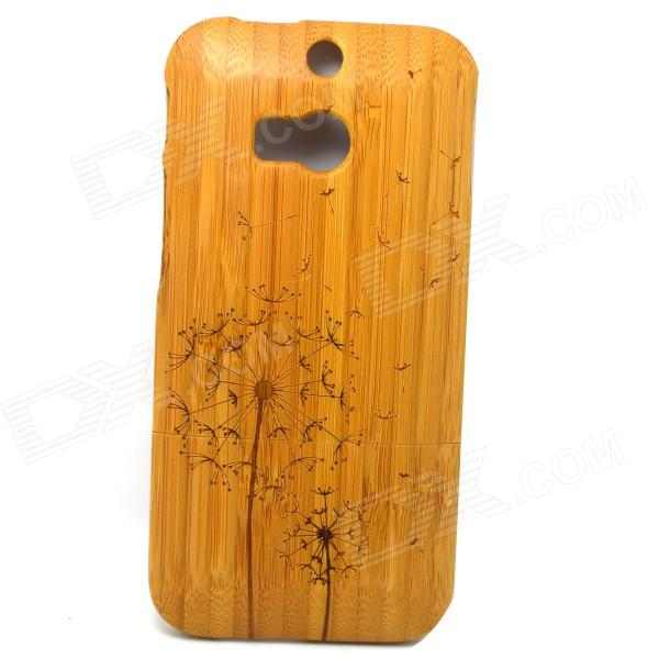 Dandelion Pattern Detachable Protective Bamboo Back Case for HTC ONE M8 - Yellow