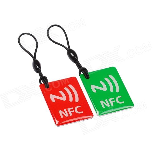 NXP Tag 203 144 Bytes 13.56MHz Smart NFC Tags for Cellphones - Red + Green (2 PCS) 13 56mhz nfc smart tag set for xiaomi meizu mx3 nokia lumia samsung s4 orange black