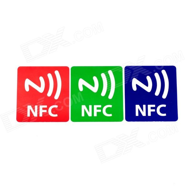 NXP Ntag203 144 Bytes Cellphone Pattern Stickers NFC Tags - Red + Green + Blue (3 PCS) smartrac nfc ntag 203 circus 23mm stickers set windows android htc samsung nokia