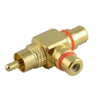 JT-1699 Gold-plated RCA Male to RCA Female Adapter - Yellow + White
