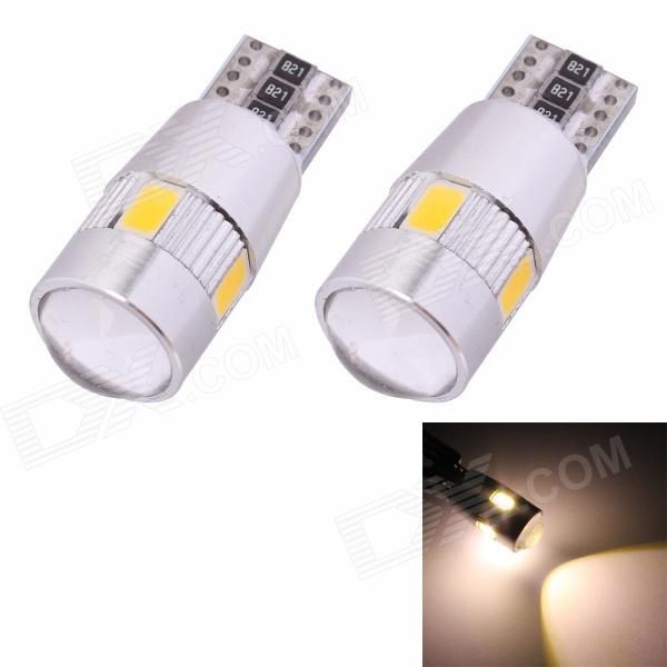 MZ T10 3W 210lm 6-SMD 5630 LED Warm White Light Car Clearance Lamp w/ Lens (DC 12V / 2 PCS) mz t10 5w 350lm 10 smd 5630 led error free canbus warm white light car clearance lamp dc12v 2 pcs