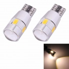MZ T10 3W 210lm 6-SMD 5630 LED Warm White Light Car Begrenzungsleuchte w / Lens (DC 12V / 2 PCS)