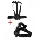 Elastic Chest Strap and Head Strap Set for GOPRO - Black