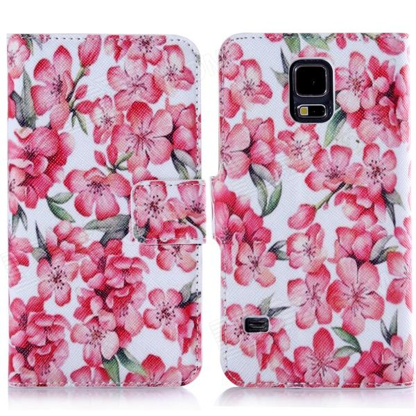DF-012 Plum Flowers Protective PU Leather + Plastic Case w/ Holder for Samsung Galaxy S5 / G900
