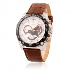 Men's Sports Style Decorative 3-Dial PU Band Quartz Analog Wrist Watch - Brown