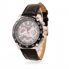 Men's Sports Style Decorative 3-Dial PU Band Quartz Wrist Watch - Black