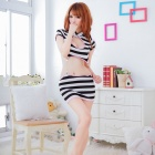 Women's Fashionable Sexy Cheerleading Style Cosplay Spandex Sleep Dress Set - Black + White