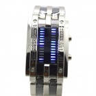 L1 Men's 28-LED Blue Light  Zinc Alloy Digital Wristwatch - Silver + Translucent Black (1 x CR2032)