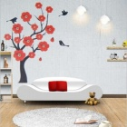 Tai Shen Flowers + Tree + Birds Pattern PVC Removable Art Wall Sticker - White + Red + Black