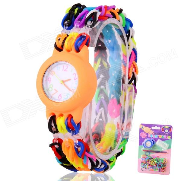 Children's Knitting Silicone Bands DIY Quartz Analog Bracelet Wrist Watch - Orange (1 x 377) шлепанцы souls шлепанцы