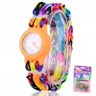 Buy Children's Knitting Silicone Bands DIY Quartz Analog Bracelet Wrist Watch - Orange (1 x 377)