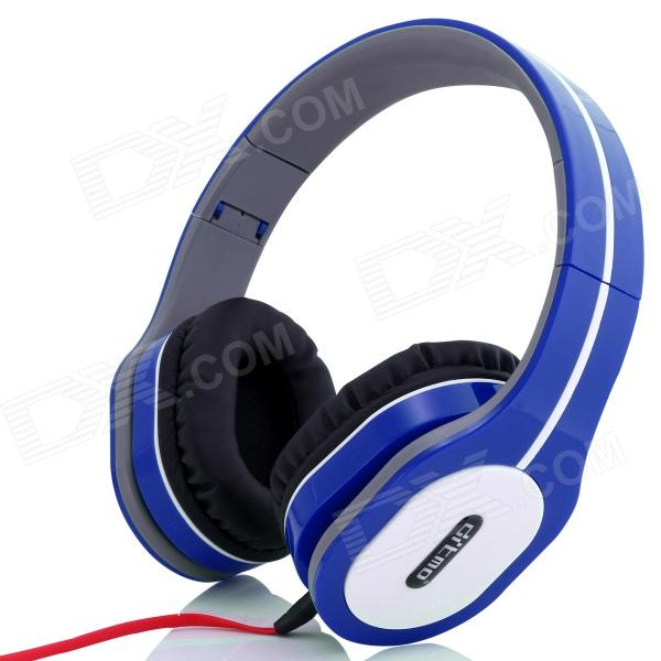 Ditmo 3.5mm Adjustable Foldable Headband Noise Canceling Stereo Headphone - Deep Blue cute personality cat ears wired headband headset hair head wear led headphone for girls kids