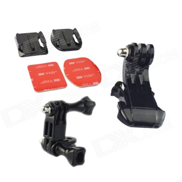 HTL-302 Helmet Mount Set for GoPro Hero 4 / 1 / 2 / 3 - Black + Silver