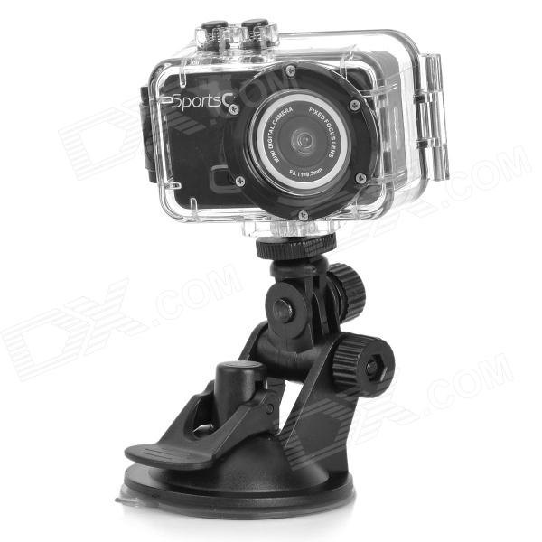M200 Outdoor Waterproof 3.0MP CMOS Sport Camera w/ TF / Micro USB - Black - DXSport Cameras<br>Image format: JPEG H.264; USB port: 2.0; Language: English; Suitable for travel climbing and cycling etc.<br>