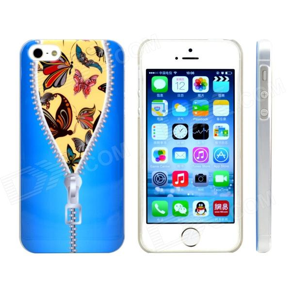 Zipper Butterfly Design Pattern Plastic Case for IPHONE 5 / 5s - Blue + Silver - DXPlastic Cases<br>Color Blue + Silver + Multi-Colored Brand N/A Quantity 1 Piece Material Plastic Shade Of Color Blue Compatible Models IPHONE 5SIPHONE 5 Design Mixed ColorGraphic Style Back Cases Packing List 1 x Case<br>