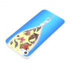 Zipper Butterfly Design Pattern Plastic Case for IPHONE 5 / 5s - Blue + Silver