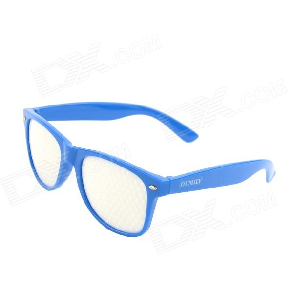 OUMILY PC Lens Eyesight Vision Improvement Pinhole Glasses Eyeglasses - Blue + White