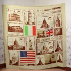 "L3 Classic Postage Stamps"" Creative European Style Dacron Bath Shower Curtain - White + Coffee"