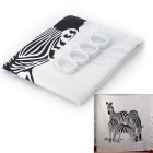 "L2 ""Drinking Horses"" Creative European Style Dacron Bath Shower Curtain - White + Black"