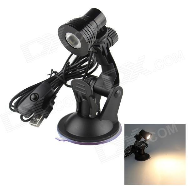 USB Multi-angle Adjustable 3W LED Warm White Light Lamp with Suction Cup and Switch - Black usb multi angle rotation adjustment 120lm led pure white light desk lamp w suction cup black