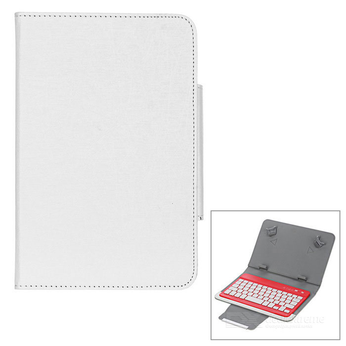 Bluetooth V3.0 59-Key Keyboard w/ Protective Case for 7''~8'' Tablet PC - Beige + Red + White ios windows android universal bluetooth keyboard abs leather case for 7 8 9 9 7 10 1 tablet pc case support russia keyboard