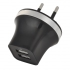 EU Plug Dual USB Power Adapter w/ LED Indicator for IPHONE / IPAD / IPOD / Samsung (100~240V)