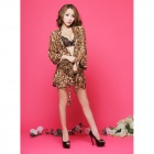 Women's Sexy Luring Bra + Underpants + Leopard Print Blouse Sleep Dress Lingerie Set - Black Leopard