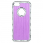 cqda ABS + Aluminum Protetive Rhinestone Inlaid Back Case for IPHONE 5 / 5S - Purple + Silver