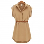 Women's Fashionable Collared Short-sleeve Dacron Dress w/ Belt - Khaki (L)
